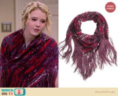 Lennox's red and purple printed fringed wrap scarf on Melissa and Joey. Outfit Details: http://wornontv.net/27680 #MelissaandJoey #fashion