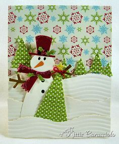 Crimped trees & snow christma card, snowman card, tree, christmas villages