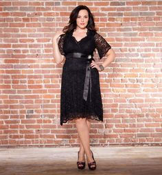 Love the swingy skirt and satin sash. Definitely has plenty of Old Hollywood appeal.  Retro Glam Lace Dress in Black Lace / Black Lining #plussize