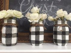 One of my most viewed posts has been, How to paint BUFFALO CHECK PLAID on Mason Jars in the Black and White. Always a good choice for FAR...