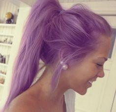purple hair, dual pearl earrings