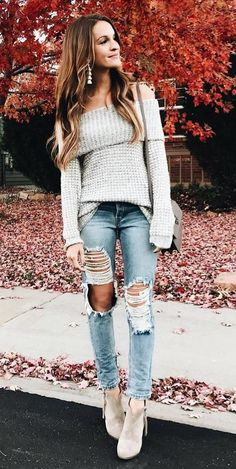 how to wear an offshoulder sweater : bag + ripped jeans + boots