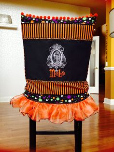 Halloween Chair Slip Cover With Ruffled Skirt.
