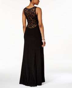 X by Xscape Rhinestone Illusion Lace Gown $119.00 A thigh-high slit adds elegant drama to X by Xscape's celeb-style evening gown, designed with an embellished illusion lace front and back.