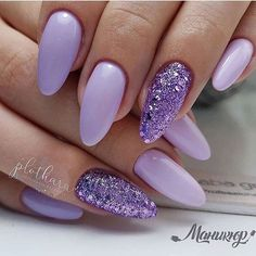 Nail Designs and Ideas for Purple Acrylic Nails lila Purple Glitter Nails, Purple Acrylic Nails, Best Acrylic Nails, Violet Nails, Purple And Silver Nails, Purple Manicure, Purple Nail Designs, Acrylic Nail Designs, Nail Art Designs