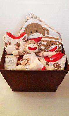 Baby Boy Basket, Fun Sock Monkey Theme, Shower or Welcome New Baby Gift #BabyStarters