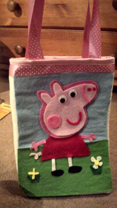 Peppa Pig Bag by SomethingSquirrel on Etsy, £8.50
