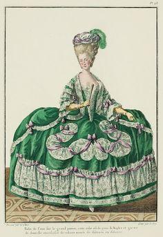 Galerie des Modes, 14e Cahier, 6e Figure  Robe de Cour on the full hoop