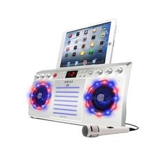 Akai Bluetooth CD+G Karaoke Machine with Built-in Speakers, Light Effects & iPad/ Tablet Cradle in White
