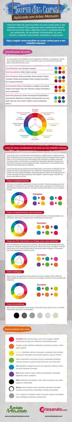 Preparamos um infográfico completo para você aprender a aplicar a Teoria de Cores corretamente em seus artesanatos                                                                                                                                                      Mais