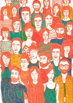 Crowd Art Print by Berit Lysdal Baerentsen | Society6
