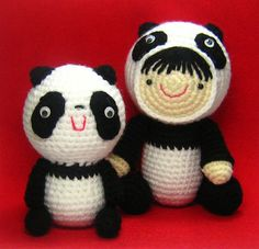Girl in a Panda Suit and Her Friend Crochet Pattern by stripeyblue, via Flickr