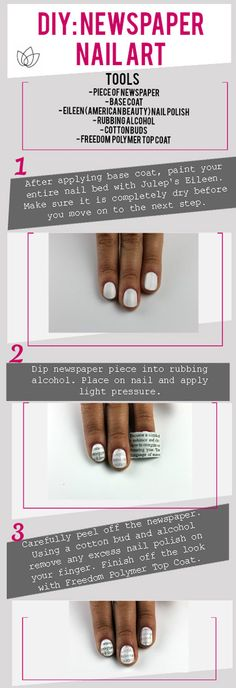 DIY: Newspaper Nails - Julep Blog - Julep Beauty Buzz wish I could wear nail polish may be cute on toes too.