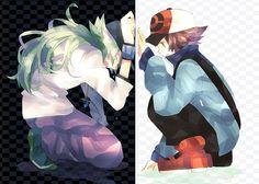 Pokémon - Touya (Hilbert) x N Fan Art Pokemon, Pokemon Noir, Pokemon Ships, Cute Pokemon, Random Pokemon, Pokemon Stuff, Green Pokemon, Black Pokemon, Pokemon Gifts