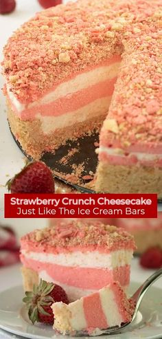 Strawberry Crunch Cheesecake is Just Like The Ice Cream Bars