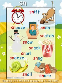 'sn' words phonics poster - Free Download!