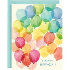 Gorgeous watercolor balloons decorate the sky on these wonderfully festive birthday cards. The perfect set to have on hand for birthday occasions throughout the year. Accompanied by pool envelopes. By Paper Source. Watercolor Birthday Cards, Birthday Card Drawing, Watercolor Cards, Happy Birthday Painting, Happy Birthday Typography, Cute Birthday Cards, Free Birthday, Birthday Images, Birthday Quotes