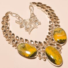 """STUNNING BUMBLE BEE JASPER WITH CITRINE TOPAZ  - 925 SILVER JEWELRY NECKLACE 18"""" #Unbranded #Choker"""