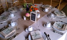 table settings with burlap runners | very creative and unique table setting using burlap table runner
