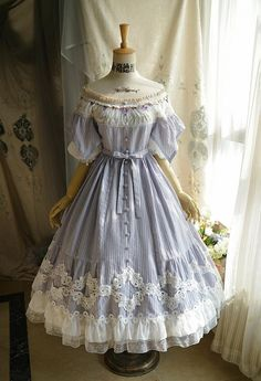 Classic Lolita Elegant Short Sleeves Chic Stripe Cotton Neckline Summer Midi Dress Flared OP Source by kawaii Old Fashion Dresses, Old Dresses, Vintage Dresses, Vintage Outfits, Fashion Outfits, 1800s Dresses, Event Dresses, Victorian Era Dresses, Fashion Boots