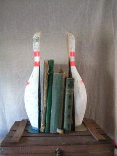 Vintage Bowling Pin Bookend ORIGINAL by Shabbylull - Urban Decor - Pair. $68.00, via Etsy.