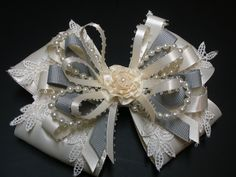 Gray IVORY Satin Hair Bow Big Large Elegant Wedding Flower Girl Pageant Big Boutique Dressy Fancy Special Occassion