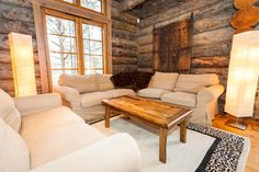 Stylish, luxury log cabin on three levels, in popular Levi. Luxury Log Cabins, Dining Bench, Relax, Cottage, Couch, Furniture, Home Decor, Google, Summer