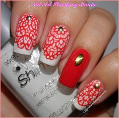 Nail Art Stamping Mania: Red Lace With Born Pretty BP-L028
