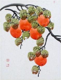 Korean Painting of Persimmons by Nam Jun