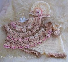 Baby dress with pants, hat and booties