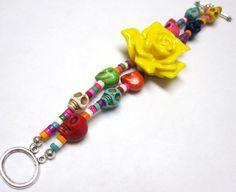 Sugar Skull Bracelet Day Of The Dead Jewelry  Yellow Rose Flower Strand