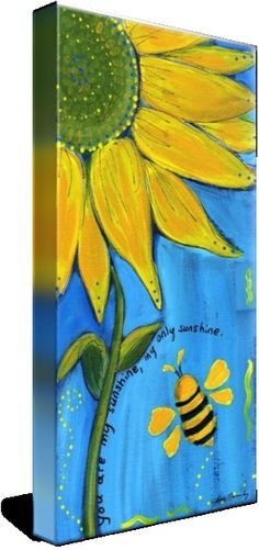 """""""You Are My Sunshine"""" by Lee Owenby, Paris, Tennessee // Golden sunflower on a field of blue with a friendly bumble bee. // -- Buy stunning fine art prints, framed prints and canvas prints directly from independent working artists and photog"""