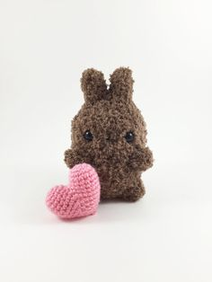 Crocheted Brown Chubby Bunny Crochet Bunny Crochet by MossyMaze