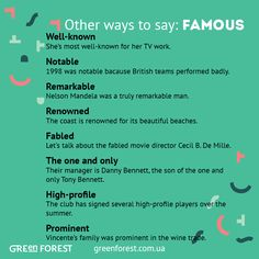 Synonyms to the word FAMOUS. Other ways to say FAMOUS. Синонимы к английскому слову FAMOUS.
