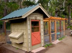 This is an adorable and space saving coop design. I love the orange door and green metal roof.