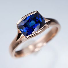 Cushion Blue Lab Sapphire Fold Solitaire Engagement Ring in Rose Gold, Sterling…