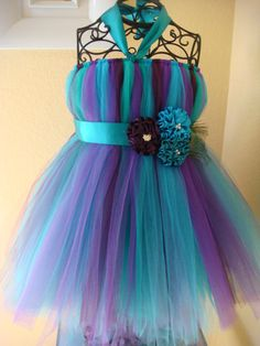 Plum and Teal  peacock tutu dress by raelei on Etsy, $45.00