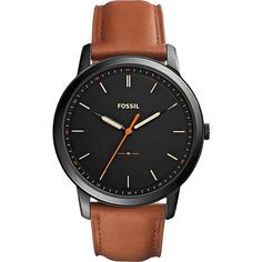 Fossil The Minimalist Three-Hand Watch - Brown/Black - Men's Watches ($115) ❤ liked on Polyvore featuring men's fashion, men's jewelry, men's watches, brown, mens leather strap watches, mens brown leather watches, mens watches jewelry and mens quartz watches