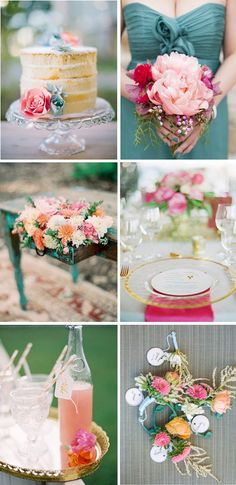 Wedding Centerpieces color combinations   wedding color combination: teal and pink