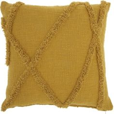 Mina Victory Distressed Diamond Throw Pillow x x - Mustard), Yellow, Nourison(Cotton, Abstract) Boho Throw Pillows, Yellow Throw Pillows, Throw Pillow Covers, Decorative Throw Pillows, Cushion Covers, Kitchen Rugs And Mats, Hatch Pattern, Jute Fabric, Christmas Pillow Covers