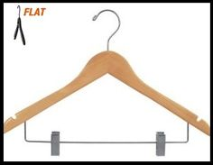"""CHW-51N  17\"""" Natural Wooden Clothing Suit / Pant Hangers"""
