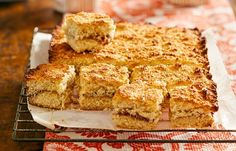 The wonderful strawberry slice gets a revamp with tropical-tasting coconut. Bake it for friends or just whip up and enjoy a piece yourself – the recipe is so easy! Delicious Desserts, Dessert Recipes, Coconut Slice, Strawberry Slice, Savory Snacks, Biscuit Recipe, Dessert Bars, High Tea, No Cook Meals