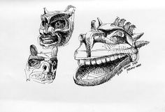 """""""I love drawing sculptural objects like the masks in the Burke Museum."""" - Frank Ching. Urban Sketchers Seattle: Quad and Burke Museum"""