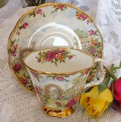 Cup and saucer - probably a Royal Albert pattern....very pretty