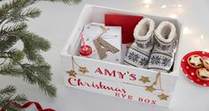 Make Christmas Eve just as special as the big day itself, with a personalised Christmas Eve box! We're sure you've heard of these by now, but you don't have to fork out loads to get one personalised - you can do it yourself with just some paints and a stencil.
