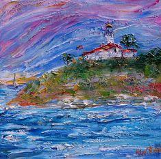Point Loma Lighthouse painting original oil 12x12 abstract #lighthouse