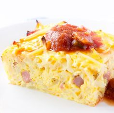 Seriously, it took me longer to preheat my oven than it did for me to prepare this easy breakfast casserole. I used frozen hash browns, shredded cheese, and cubed ham. So, the only real prep work that I had to do was crack open the eggs. This casserole will feed a crowd. It makes 8 to 12portions, depending on how you cut it. It would be perfect around the holidays since youonly need to spend about 5 minutes in the kitchen putting it together.Then,just let it bake. I always putsalsa…