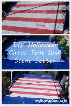 How to Make a Halloween Circus Tent Wall Scene Setter - Crafting Happiness Casa Halloween, Halloween Circus, Halloween Haunted Houses, Outdoor Halloween, Halloween Party Decor, Halloween Themes, Halloween 2020, Halloween Crafts, Halloween Camping