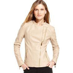 Calvin Klein Jacket, Long-Sleeve Faux-Leather Moto $160