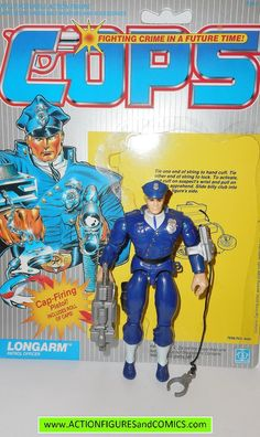Hasbro toys action figures for sale to buy C.O.P.S. 'n CROOKS vintage series 1988 LONGARM 100% COMPLETE with FULL back card. Condition: Overall excellent. nice paint, very tight joints. nothing broken